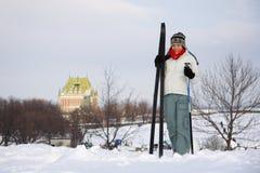 να κάνει σκι του Κεμπέκ πόλεων Στοκ Φωτογραφίες