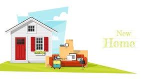 Να κινήσει κατ' οίκον το υπόβαθρο έννοιας με το μικρά σπίτι και τα έπιπλα ελεύθερη απεικόνιση δικαιώματος