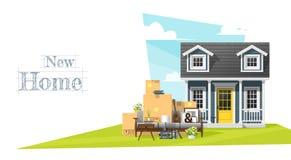 Να κινήσει κατ' οίκον το υπόβαθρο έννοιας με το μικρά σπίτι και τα έπιπλα διανυσματική απεικόνιση