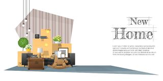 Να κινήσει κατ' οίκον το υπόβαθρο έννοιας με τα κουτιά από χαρτόνι και τα έπιπλα στο νέο καθιστικό ελεύθερη απεικόνιση δικαιώματος