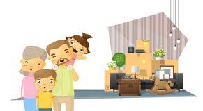 Να κινήσει κατ' οίκον το υπόβαθρο έννοιας με την ευτυχή οικογένεια και τα έπιπλα στο νέο καθιστικό διανυσματική απεικόνιση