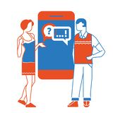 Να κουβεντιάσει έννοια να κουβεντιάσει με το chatbot στο smartphone επίσης corel σύρετε το διάνυσμα απεικόνισης διανυσματική απεικόνιση