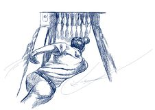 Να κυλήσει - μια συρμένη χέρι απεικόνιση στο άσπρο υπόβαθρο στο εκλεκτής ποιότητας ύφος Ελεύθερη σκιαγράφηση Αναδρομικός στην μπλ ελεύθερη απεικόνιση δικαιώματος