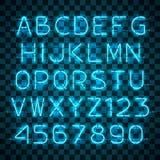 Να λάμψει και πυράκτωσης μπλε αλφάβητο και ψηφία νέου απεικόνιση αποθεμάτων