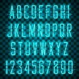 Να λάμψει και πυράκτωσης μπλε αλφάβητο και ψηφία νέου διανυσματική απεικόνιση