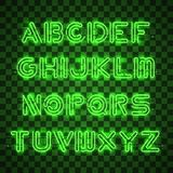 Να λάμψει και πυράκτωσης πράσινα αλφάβητο και ψηφία νέου ελεύθερη απεικόνιση δικαιώματος