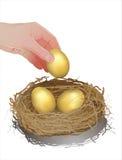 Να μαζεψει με το χέρι επάνω το χρυσό αυγό Ελεύθερη απεικόνιση δικαιώματος