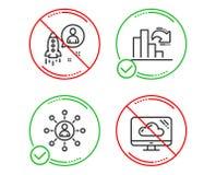 Να μειωθεί εικονίδια γραφικών παραστάσεων, δικτύωσης και ξεκινήματος καθορισμένα Σημάδι αποθήκευσης σύννεφων r ελεύθερη απεικόνιση δικαιώματος