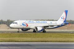 Να μετακινηθεί με ταξί αερογραμμών Ural airbus A320 Στοκ Φωτογραφία