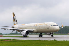 Να μετακινηθεί με ταξί airbus αερογραμμών Etihad A321 Στοκ εικόνα με δικαίωμα ελεύθερης χρήσης