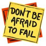 Να μην είστε φοβισμένος να αποτύχει την υπενθύμιση ή τις συμβουλές Στοκ εικόνα με δικαίωμα ελεύθερης χρήσης