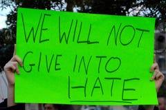 Να μην δώσει στο μίσος Στοκ Εικόνες