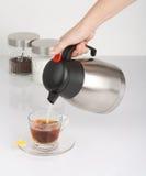 Να μουτρώσει το ζεστό νερό στο φλυτζάνι του τσαγιού Στοκ Εικόνες