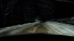 Να οδηγήσει στο χιόνι τη νύχτα απόθεμα βίντεο