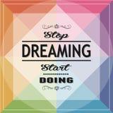 Να ονειρευτεί στάσεων να κάνει έναρξης Στοκ Εικόνες