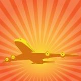 Να οδηγήσει το αεροπλάνο σε ένα υπόβαθρο του ήλιου. Διανυσματικό σχέδιο. Στοκ φωτογραφία με δικαίωμα ελεύθερης χρήσης