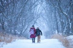 Να πάει στο σπίτι στο χιόνι στοκ εικόνες