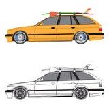 Να περιοδεύσει το αυτοκίνητο με την ιστιοσανίδα και το κουπί στη στέγη, Στοκ φωτογραφία με δικαίωμα ελεύθερης χρήσης