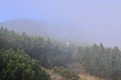 Να πραγματοποιήσει οδοιπορικό το σημάδι στην ομίχλη Στοκ εικόνα με δικαίωμα ελεύθερης χρήσης