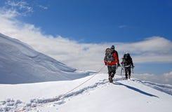 Να προετοιμαστεί να επιτεθεί η σύνοδος κορυφής του υποστηρίγματος Tetnuld Στοκ εικόνα με δικαίωμα ελεύθερης χρήσης