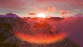 Να στηριχτεί στο mountaintop στο ηλιοβασίλεμα με τη φλόγα απεικόνιση αποθεμάτων