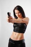 να στοχεύσει τη στενή γυναίκα Στοκ φωτογραφία με δικαίωμα ελεύθερης χρήσης