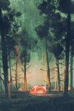Να στρατοπεδεύσει στο δάσος τη νύχτα διανυσματική απεικόνιση