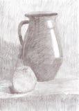 Να σύρει ακόμα τη ζωή Κανάτα και μήλο στον πίνακα Στοκ εικόνα με δικαίωμα ελεύθερης χρήσης