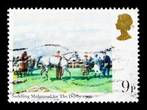 Να φορτώσει το Mahmoud για το ντέρπι, έργα ζωγραφικής Horseracing serie, circa 1979 Στοκ φωτογραφίες με δικαίωμα ελεύθερης χρήσης