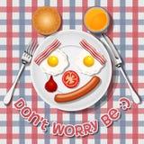 Να φωνάξει αντέχει κάνει με τα τηγανισμένο αυγά και το λουκάνικο και το μπέϊκον Στοκ φωτογραφία με δικαίωμα ελεύθερης χρήσης