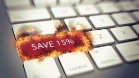 Να φλεθεί σώζει το κλειδί 15% σε ένα πληκτρολόγιο υπολογιστών Στοκ φωτογραφία με δικαίωμα ελεύθερης χρήσης