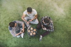 Νεαροί άνδρες που κάθονται στη χλόη και την μπύρα κατανάλωσης κατασκευάζοντας bbq Στοκ εικόνα με δικαίωμα ελεύθερης χρήσης