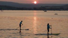 Νεαροί άνδρες στους πίνακες κουπιών στο χρόνο ηλιοβασιλέματος Στοκ εικόνα με δικαίωμα ελεύθερης χρήσης