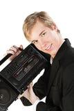 Νεαρός άνδρας με το στερεοφωνικό συγκρότημα Στοκ φωτογραφίες με δικαίωμα ελεύθερης χρήσης