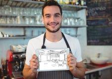 νεαρός άνδρας που εργάζεται σε έναν φραγμό με την ταμπλέτα με το νέο σχέδιο φραγμών (άσπρος και μαύρος) Στοκ εικόνα με δικαίωμα ελεύθερης χρήσης