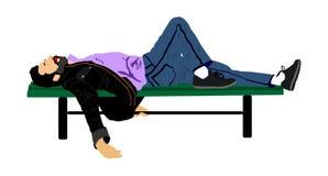 Νεαρός άνδρας που κοιμάται ή που πίνεται βαθειά, βάζοντας υπαίθρια σε έναν ξύλινο πάγκο πάρκων, ελεύθερη απεικόνιση δικαιώματος
