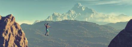 Νεαρός άνδρας που περπατά στην ισορροπία διανυσματική απεικόνιση