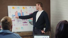 Νεαρός άνδρας που συζητά το επιχειρηματικό σχέδιο στο λευκό πίνακα με τους συναδέλφους κατά τη διάρκεια μιας συνεδρίασης φιλμ μικρού μήκους