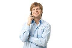 Νεαρός άνδρας σε κινητό Στοκ Εικόνα