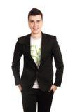 Νεαρός άνδρας στο μαύρο παλτό στοκ εικόνες με δικαίωμα ελεύθερης χρήσης