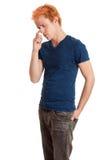 Νεαρός άνδρας στο μπλε πουκάμισο Στοκ Φωτογραφίες
