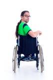 Νεαρός άνδρας με τα γυαλιά σε ένα wheelchairfrom η πλάτη Στοκ φωτογραφίες με δικαίωμα ελεύθερης χρήσης
