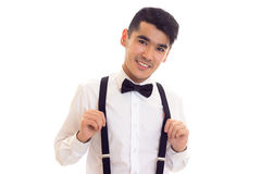 Νεαρός άνδρας με τον τόξο-δεσμό και suspenders Στοκ Εικόνα