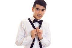 Νεαρός άνδρας με τον τόξο-δεσμό και suspenders Στοκ φωτογραφίες με δικαίωμα ελεύθερης χρήσης