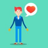 Νεαρός άνδρας με το μήνυμα αγάπης για το διάνυσμα σχεδίου ημέρας βαλεντίνων άρρωστο Στοκ Εικόνες