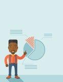 Νεαρός άνδρας με το οικονομικό διάγραμμα πιτών του Στοκ Εικόνες