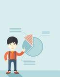 Νεαρός άνδρας με το οικονομικό διάγραμμα πιτών του Στοκ Φωτογραφία