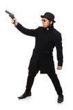 Νεαρός άνδρας με το πυροβόλο όπλο που απομονώνεται στο λευκό Στοκ εικόνα με δικαίωμα ελεύθερης χρήσης