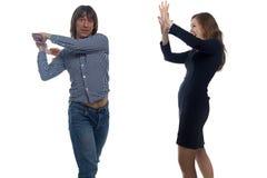 Νεαρός άνδρας με το balalaika και γυναίκα Στοκ φωτογραφία με δικαίωμα ελεύθερης χρήσης