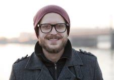 Νεαρός άνδρας με το moustache και τη γενειάδα Στοκ Εικόνες